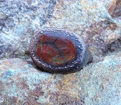 RuckAChucky Falls Organic Ring Electroformed Copper and Red Jasper by Studio Jardine, $64.00