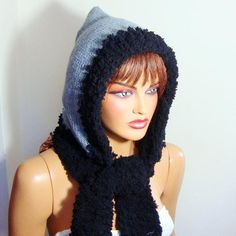 Excited to share this item from my shop: Women gray knitting hat, Hooded Gray Hat, Crochet Black Grey Hooded Hat, Winter Hat, Black Gray Knitted Crochet Poncho, Crochet Beanie, Knitted Hats, Crochet Hats, Irish Crochet, Lace Gloves, Christmas Gifts For Women, Easy Knitting, Knitting Ideas
