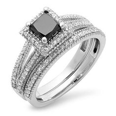 DazzlingRock JEWELRY,  1.35 Carat (ctw) 14K White Gold Black & White Diamond Split Shank Halo Engagement Ring Set (Size 5)