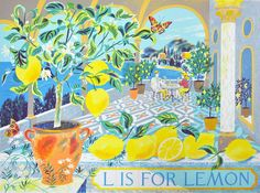 """Emily Sutton's """"L is for Lemon"""" screenprint - the latest in her alphabet series http://www.stjudesprints.co.uk/products/l-is-for-lemon-1"""