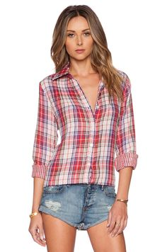 Tolani Tolani Ava Button Up in Red