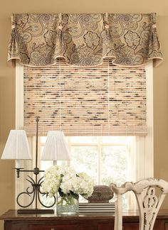 56 ideas for bedroom window valance patterns Bedroom Curtains With Blinds, Kitchen Curtains And Valances, Valences For Windows, No Sew Curtains, Curtains Living, Valance Curtains, Cornice, Kitchen Window Treatments With Blinds, Valance Window Treatments