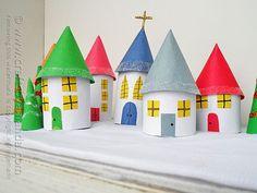 Cardboard Tube Christmas Village by @Amanda Formaro Crafts by Amanda
