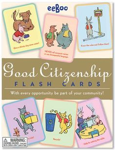 Responsibility Flash Cards by eeBoo - Good Citizenship Best Books List, Good Books, Democracy For Kids, Good Citizen, Social Studies Resources, Kids Laughing, Character Education, Library Card, Baby Online