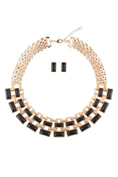 Acrylic Stone Linked Metal Casting Necklace Set for Women