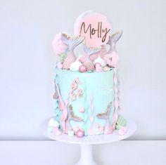 Baby Girl Birthday Cake, Unique Birthday Cakes, Mermaid Birthday Cakes, Barbie Birthday, Bolo Lady Bug, Mermaid Birthday Party Decorations Diy, Little Mermaid Cakes, Mermaid Barbie, Sea Cakes