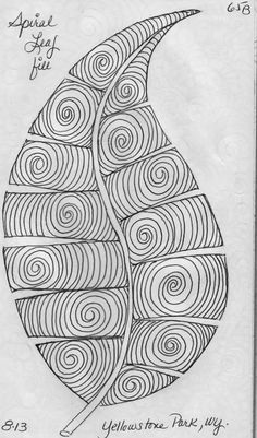Zentangle- blank leaf template also on page / LuAnn Kessi: Sketch Book. Zentangle Drawings, Doodles Zentangles, Doodle Drawings, Doodle Art, Zen Doodle, Longarm Quilting, Free Motion Quilting, Machine Quilting, Doodle Patterns