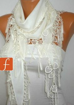 Off White Scarf - Pashmina Scarf - Cowl with Lace Edge - White - fatwoman -LOVE - HEART from fatwoman on Etsy. Saved to Things I want as gifts. White Scarves, Poncho, Pashmina Scarf, Cotton Scarf, Scarf Styles, Womens Scarves, Bandana, What To Wear, Dress Up