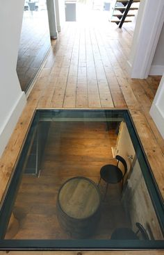 glass floor This house has a basement wine cellar and a glass hallway floor to give a view. Küchen Design, House Design, Interior Design, Design Ideas, Wine Cellar Basement, One Bedroom Flat, Home Wine Cellars, Wine Cellar Design, Hallway Flooring