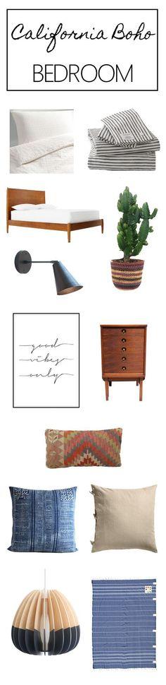 california bohemian modern mid century bedroom mood board room design