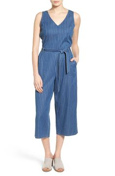 Main Image - Two by Vince Camuto Belted Stripe Denim Culotte Jumpsuit