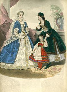 Dec. 1864 costumes Victorian Fancy Dress, Victorian Fashion, Vintage Fashion, Fancy Dress Ball, Civil War Fashion, Civil War Dress, Masquerade Costumes, 19th Century Fashion, Plate Design