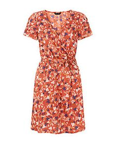 Red Ditsy Floral Wrap Front Dress  | New Look