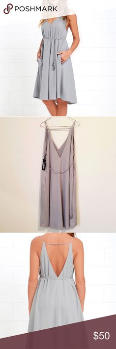 Whoa Nelly Lulu's Grey Midi Dress So cute! NWT. Sold out online. Lulu's Dresses Midi