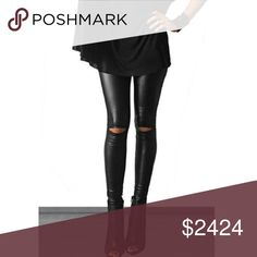 Faux Leather Cutout Leggings Faux Leather cutout leggings with cutouts at the knees. 92% polyester 8% spandex ❤️ small fits 0/2, medium: 4/6, large: 8-10 Fashionomics Pants Leggings