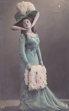 Beautiful Edwardian Lady in Exquisite Outfit..circa 1908 colorized photo 10s blue dress hat