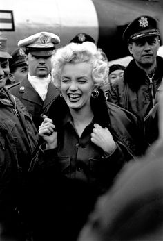 Marilyn Monroe in Korea with the USO in 1954