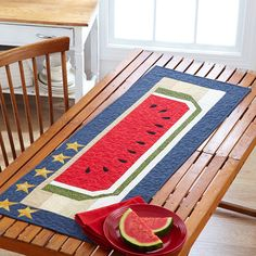 Star-Spangled Summer - Celebrate the season with a table runner that embraces the best of summer.  Free Pattern from All People Quilt