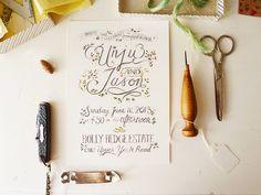 Hand written calligraphy for rustic, garden inspired wedding invitation