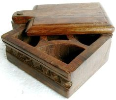 antique boxes | 1900s Original Antique Hand Carved Wooden Spice Box