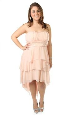I love this dress. Please stay on sale until January! plus size peasant style prom dress with high low hemline
