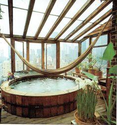 Penthouse Bathroom - hot tub + hammock + views