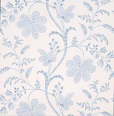 Little Greene behang, London Wallpapers 2, Bedford Square, wit, blauw, bloem, streep, 0273BEPORCE,