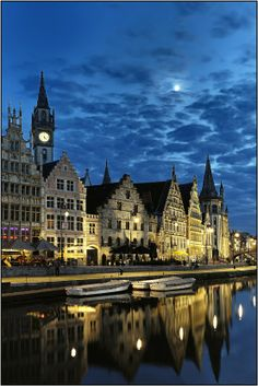 """Ghent, Belgium is a beautiful city off the more """"touristy"""" beaten path.  There's a very nice Marriott right off the canal and you literally walk out the back door into the picture above.  Beautiful architecture and excellent dining...Ghent is one of those places in Europe you'll never forget."""