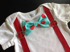 Bowtie Suspenders Bodysuit in Red/Aqua dots on Etsy, $19.00