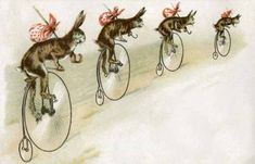 Cycling #Rabbits On This Amazing #Vintage #Easter #Card