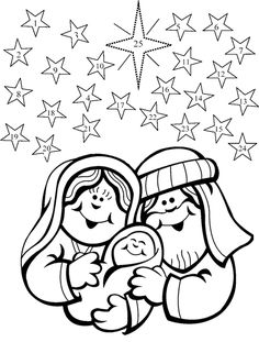 advent coloring pages | Color the picture, then each day color one star beginning with number ...
