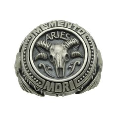 """Sterling silver custom made Aries """"memento mori"""" zodiac skull horoscope mens ring Original unique design with beautiful details and amazing art work Intricately detailed lines and antique, rustic finish all around Made From: Sterling Silver Weight: 21-23 grams of Sterling Silver /"""