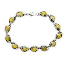 Elegant Leaves Butterscotch Baltic Amber & Sterling Silver Bracelet