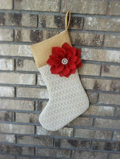 Burlap and Lace Christmas Stocking. Burlap, Lace, and Poinsettia Stocking. Burlap Flower. Rustic Christmas.