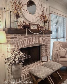 36 Relaxing Farmhouse Fireplace Decoration Ideas For Your House - Home: Living color Brick Fireplace Makeover, Farmhouse Fireplace, Home Fireplace, Fireplace Remodel, Living Room With Fireplace, Fireplace Design, Home Living Room, Living Room Decor, Fireplace Ideas