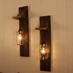 Pair of Mason Jar Chandelier Wall Mount Fixture -- Mason Jar Lighting - Upcycled Wood - Mason jar pendant