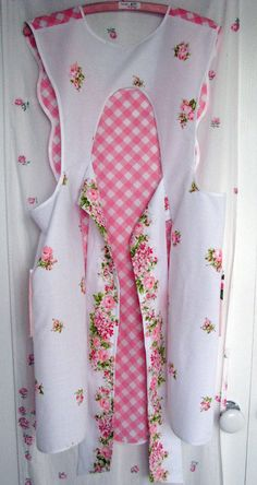nwt vintage full apron pink checks LOVE VINTAGE ROSES new gift shabby chic boutique handmade retro. $39.95, via Etsy.