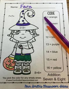 Halloween Horror! Nope, nothing scary about this cute Color Your Answers Halloween Worksheets! Five Color By Code Halloween Subtraction Color Your Answers Worksheets with Answer Keys Included. Adorable, Non-Scary Kids in Halloween Costumes Theme. #FernSmithsClassroomIdeas