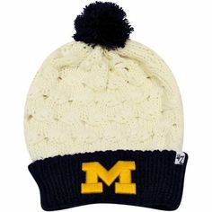 '47 Brand Michigan Wolverines Ladies Thick Knit Cuffed Beanie - Natural/Navy Blue