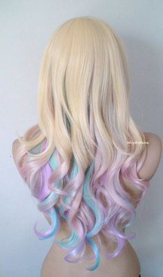 Pastel Ombre wig. Blonde / Pastel pink/Lavender/ Aqua blue