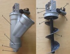 Concrete Print-head Design: 1: PVC plumbing Y pipe, 2: PVC pipe cap, 3: 3D printed nozzle holder, 4: replaceable nozzle, 5: Windscreen wiper motor, 6: 100m post-hole boring auger, 7: PVC pipe cap, 8: motor coupling, 9: Print-head mounting bracket, 10: Motor mounting plate