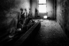 Ghost_02. Her soul leaving her body. Click for an original, limited edition, signed, fine art print on Hahnemühle high quality paper. #fineart #print #deco #photography #ghost #monochrome #urban #blackandwhite #urbex #pierrepichot