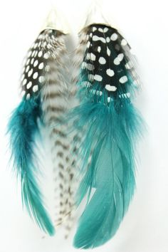 Feather Earrings : Indian Summer. Tribal Inspired Natural Feather Earrings with Black and White Spotted, Stripped and Teal Feathers