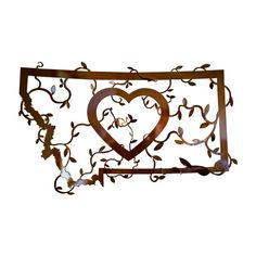 High grade steel cut and custom finished bronze coated metal art features an outline of Montana and heart in center with 3D hand bent vines winding through the piece. This handcrafted piece will bring