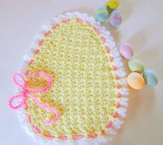 Crochet easter items | Easter Egg Placemat Hand Crochet by GreetingTheSeasons on Etsy