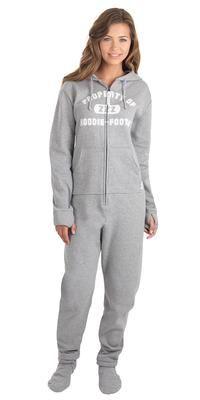 Hoodie-Footieao Gray Varsity Pajamas Women 500107631