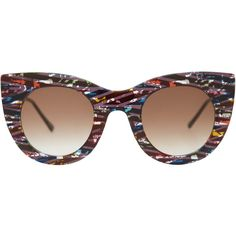 Thierry Lasry Multi-Coloured Divinity Sunglasses featuring polyvore, fashion, accessories, eyewear, sunglasses, round lens glasses, round cat eye sunglasses, multi color sunglasses, rounded sunglasses and round glasses