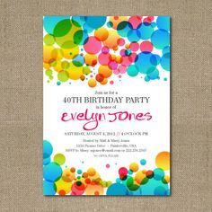 Printable Colorful Abstract Bubbles birthday party invitation via Etsy.