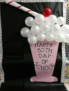 50th Day of School -- so cute! I'm going to see if I can get mommy helpers and we all surprise the kids and teacher with this on the door very cute