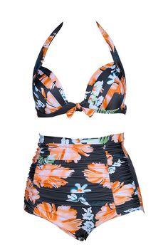 8f492c16be35e New Women Sexy Prints High Waist Swimsuits Retro Biquini Swimwear Cover  Belly bird Bikinis Set Show Slim bathing suits